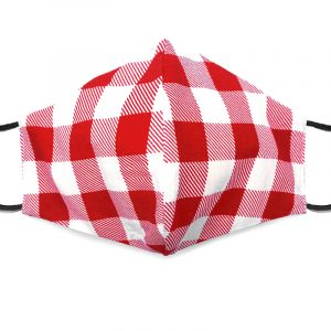 Handmade plaid pattern print fabric face mask with 100% cotton and elastic straps red and white adult size.