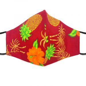Handmade pineapple pattern print fabric face mask with 100% cotton and elastic straps in red and multicolored adult size.