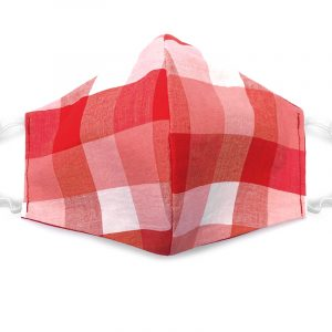 Handmade plaid pattern print fabric face mask with 100% cotton and elastic straps light red, pink, and white adult size.