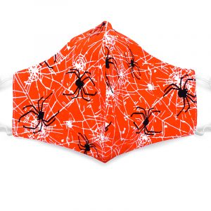 Handmade Halloween spiderweb pattern print pattern fabric face mask with 100% cotton and elastic straps in orange, black, and white adult size.