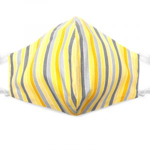 Handmade striped pattern print fabric face mask with 100% cotton and elastic straps in yellow, gray, and white adult size.