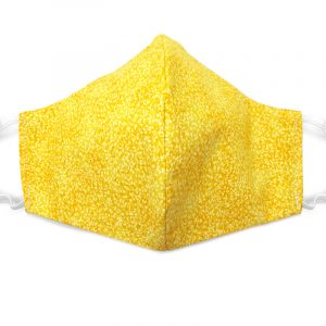 Handmade leaf nature print fabric face mask with 100% cotton and elastic straps in yellow adult size.