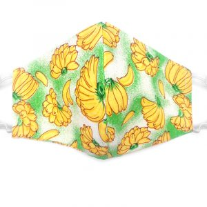 Handmade banana pattern print fabric face mask with 100% cotton and elastic straps in green, yellow, and white adult size.