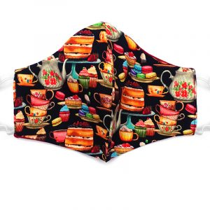 Handmade tea party pattern print fabric face mask with 100% cotton and elastic straps in black and multicolored adult size.