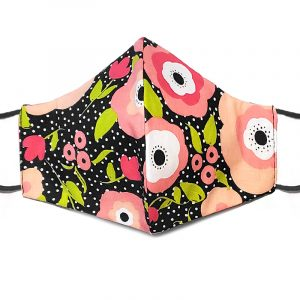 Handmade floral print fabric face mask with 100% cotton and elastic straps in black, pink, and white polka dot adult size.