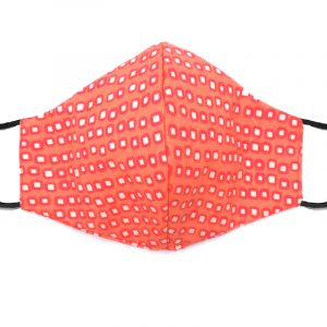 Handmade square pattern print fabric face mask with 100% cotton and elastic straps in peach, salmon pink, and white adult size.