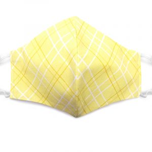 Handmade plaid pattern print fabric face mask with 100% cotton and elastic straps light yellow and white adult size.