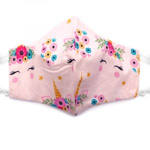 Handmade floral unicorn pattern print pattern fabric face mask with 100% cotton and elastic straps in light pink, white, and multicolored adult size.