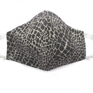 Handmade reptile pattern print fabric face mask with 100% cotton and elastic straps in gray adult size.