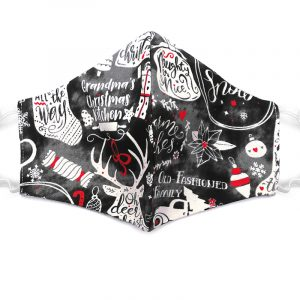 Handmade Christmas pattern print fabric face mask with 100% cotton and elastic straps in gray, white, and red adult size.