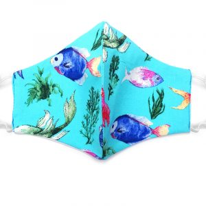 Handmade sea life pattern print fabric face mask with 100% cotton and elastic straps in turquoise and multicolored adult size.