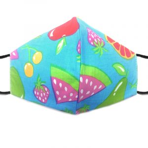 Handmade fruit medley pattern print fabric face mask with 100% cotton and elastic straps in turquoise and multicolored adult size.