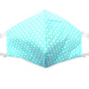 Handmade polka dot pattern print fabric face mask with 100% cotton and elastic straps in turquoise mint and white adult size.