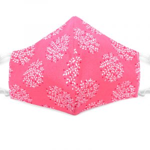 Handmade leaf nature print fabric face mask with 100% cotton and elastic straps in pink and white adult size.