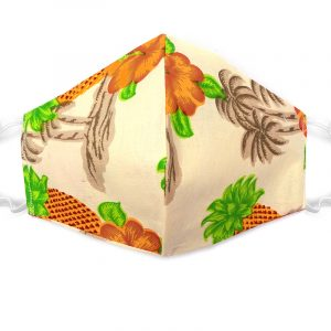 Handmade pineapple pattern print fabric face mask with 100% cotton and elastic straps in beige and multicolored adult size.