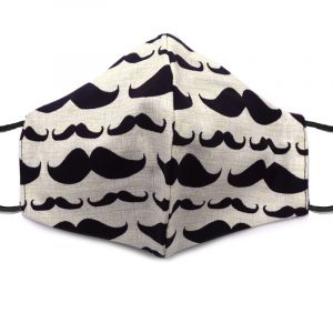 Handmade mustache pattern print pattern fabric face mask with 100% cotton and elastic straps in beige and black adult size.