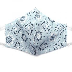 Handmade bandana pattern print fabric face mask with 100% cotton and elastic straps in slate gray, white, and dark gray adult size.
