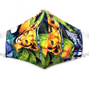 Handmade animal jungle pattern print fabric face mask with 100% cotton and elastic straps in black and multicolored adult size.