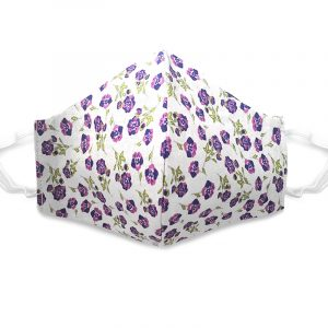Handmade floral print fabric face mask with 100% cotton and elastic straps in white, purple, and lime green kid/teen size.