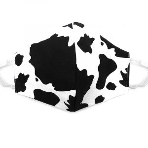 Handmade cow animal print fabric face mask with 100% cotton and elastic straps in black and white kid/teen size.