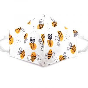 Handmade bee pattern print fabric face mask with 100% cotton and elastic straps in white, golden yellow, and black kid/teen size.