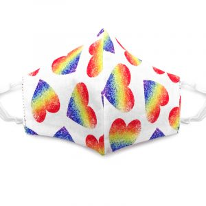 Handmade heart pattern print fabric face mask with 100% cotton and elastic straps in white and multicolored kid/teen size.