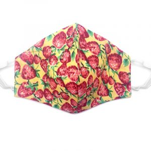 Handmade strawberry pattern print fabric face mask with 100% cotton and elastic straps in yellow, red, and green kid/teen size.