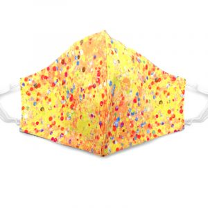 Handmade polka dot print fabric face mask with 100% cotton and elastic straps in yellow, orange, and multicolored kid/teen size.