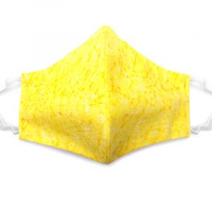 Handmade washed out print fabric face mask with 100% cotton and elastic straps in yellow kid/teen size.
