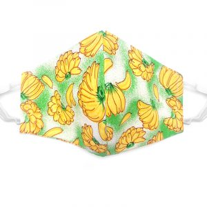 Handmade banana pattern print fabric face mask with 100% cotton and elastic straps in green, yellow, and white kid/teen size.