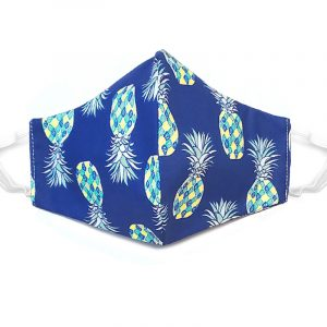 Handmade pineapple print fabric face mask with 100% cotton and elastic straps in blue, teal, and white kid/teen size.