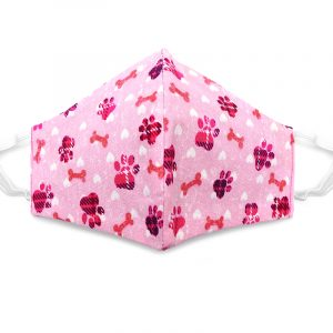 Handmade paw print pattern fabric face mask with 100% cotton and elastic straps in pink, hot pink, and white kid/teen size.