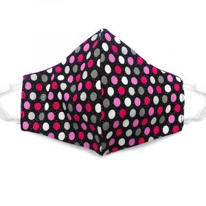 Handmade polka dot print fabric face mask with 100% cotton and elastic straps in black, pink, hot pink and gray glitter kid/teen size.