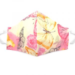 Handmade butterfly print fabric face mask with 100% cotton and elastic straps in yellow and pink floral kid/teen size.