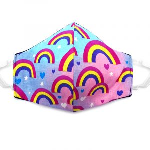 Handmade rainbow print pattern fabric face mask with 100% cotton and elastic straps in light blue and multicolored kid/teen size.