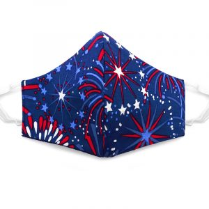 Handmade stars and fireworks pattern print fabric face mask with 100% cotton and elastic straps in navy blue, red, and white kid/teen size.