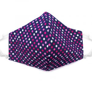 Handmade polka dot print fabric face mask with 100% cotton and elastic straps in navy blue, pink, and white kid/teen size.