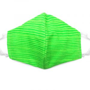 Handmade striped print fabric face mask with 100% cotton and elastic straps in neon green kid/teen size.
