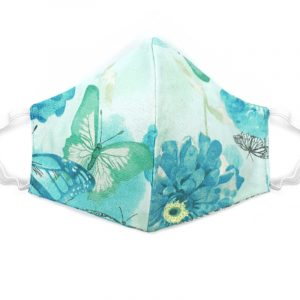 Handmade butterfly print fabric face mask with 100% cotton and elastic straps in mint and turquoise floral kid/teen size.