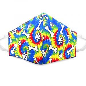 Handmade tie dye paw print pattern fabric face mask with 100% cotton and elastic straps in rainbow and white kid/teen size.