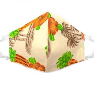 Handmade pineapple print fabric face mask with 100% cotton and elastic straps in beige and multicolored kid/teen size.