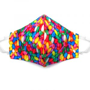 Handmade jelly beans candy print fabric face mask with 100% cotton and elastic straps in multicolored kid/teen size.