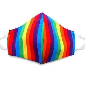 Handmade striped print fabric face mask with 100% cotton and elastic straps in rainbow kid/teen size.