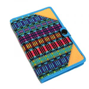 Handmade small woven cotton refillable notebook cover with multicolored stripes in turquoise blue color.