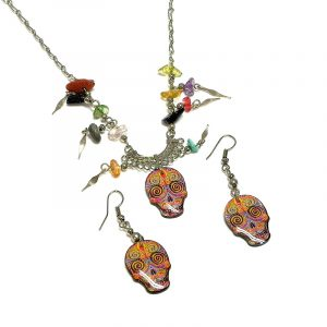 Day of the Dead psychedelic sugar skull head acrylic necklace with multicolored chip stones and matching dangle earrings in orange and multicolored color combination.