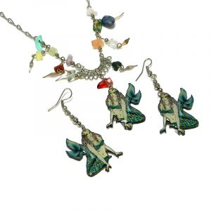 Handmade mermaid acrylic necklace with multicolored chip stones and matching dangle earrings in teal green, turquoise blue, lime green, beige, and light yellow color combination.