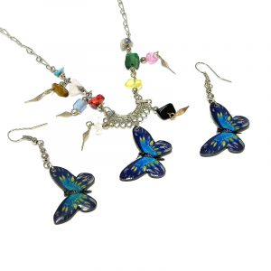Handmade butterfly acrylic chain necklace with multicolored chip stones and matching dangle earrings in blue, turquoise, yellow, and black color combination.