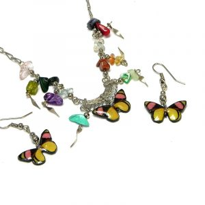 Handmade butterfly acrylic chain necklace with multicolored chip stones and matching dangle earrings in yellow, pink, and black color combination.