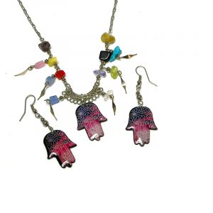 Handmade celestial hamsa hand acrylic chain necklace with multicolored chip stones and matching dangle earrings in hot pink, purple, blue, and white color combination.