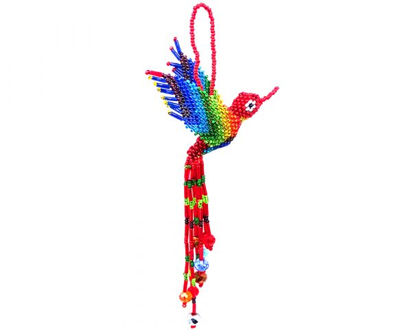 Czech glass seed bead hummingbird figurine hanging ornament with crystal bead tail dangles in red and rainbow color combination.